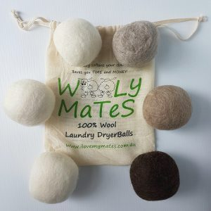 Natural black brown Wooly Mates dryer balls